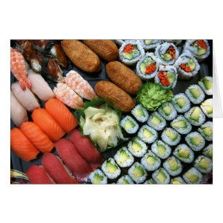 Assortment of Japanese sushi favorites Card