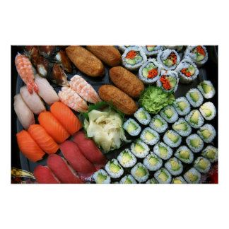 Assortment of Japanese sushi favorites Poster