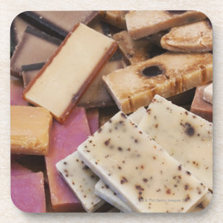 Assortment of organic handmade soaps drink coaster