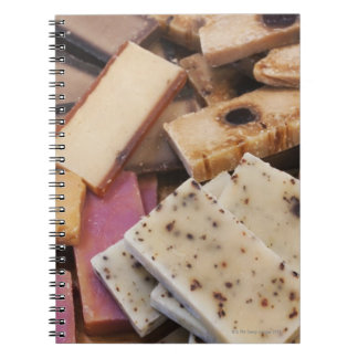 Assortment of organic handmade soaps note book