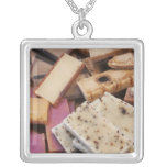Assortment of organic handmade soaps square pendant necklace