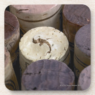 Assortment of used corks, macro. The corks have Beverage Coaster