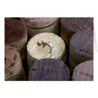 Assortment of used corks, macro. The corks have Card