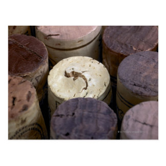 Assortment of used corks, macro. The corks have Postcard