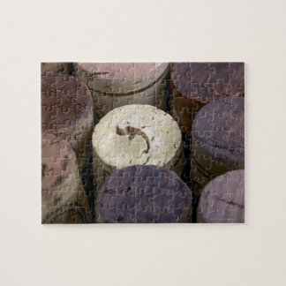 Assortment of used corks, macro. The corks have Puzzle