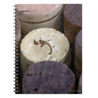 Assortment of used corks, macro. The corks have Spiral Notebooks