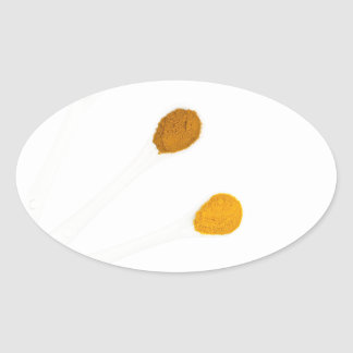 Assortment seasoning spices on porcelain spoons oval sticker