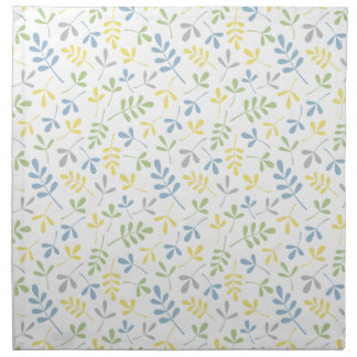 Asstd Leaves Blue Green Grey Yellow White Rpt Ptn Cloth Napkin