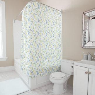 asstd leaves blue green grey yellow white sml ptn shower curtain