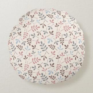 Asstd Leaves Grey Taupe Blue Pink Cream Rpt Ptn Round Pillow