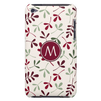 Asstd Leaves Ptn Reds Greens Cream (Personalized) Barely There iPod Cover