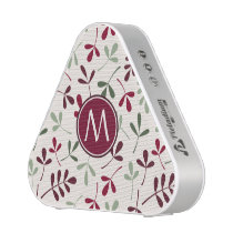 Asstd Leaves Ptn Reds Greens Cream (Personalized) Bluetooth Speaker