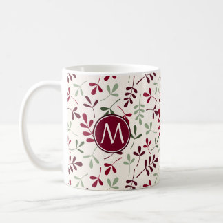 Asstd Leaves Ptn Reds Greens Cream (Personalized) Coffee Mug