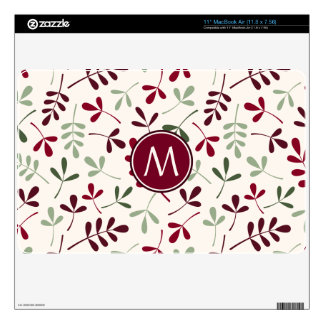 """Asstd Leaves Ptn Reds Greens Cream (Personalized) Decal For 11"""" MacBook Air"""