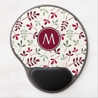 Asstd Leaves Ptn Reds Greens Cream (Personalized) Gel Mouse Pad