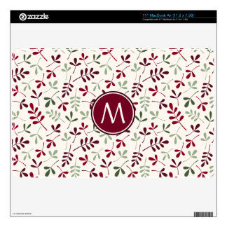 """Asstd Leaves Rpt Ptn Reds Grns Crm (Personalized) Skins For 11"""" MacBook Air"""