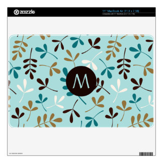 Asstd Leaves Teals Crm Gld Brwn Ptn (Personalized) Skins For The MacBook Air