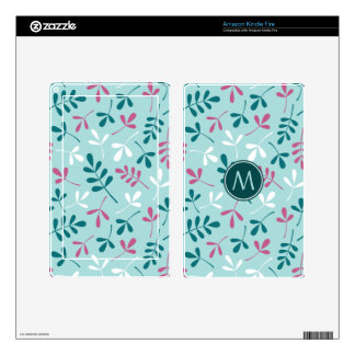 Asstd Leaves Teals White Pink Ptn (Personalized) Skins For Kindle Fire