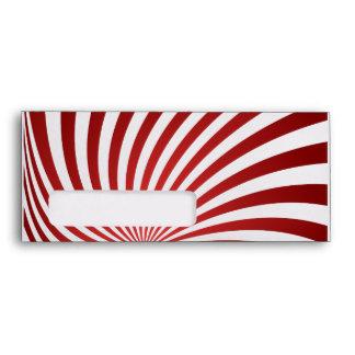 Assymetrical maroon spiral envelopes