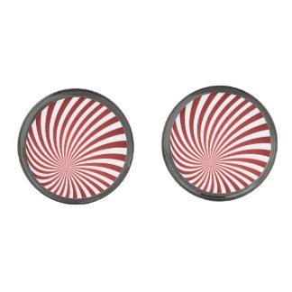 Assymetrical maroon spiral gunmetal finish cufflinks