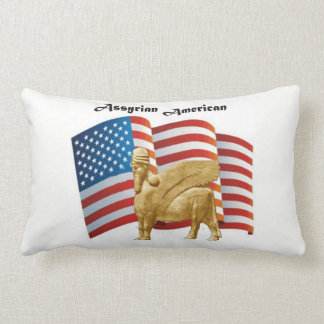 Assyrian American Winged Bull USA Flag Lumbar Pillow