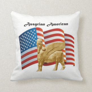 Assyrian American Winged Bull USA Flag Throw Pillow