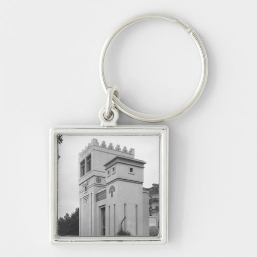 Assyrian House, Universal Exhibition, Paris Silver-Colored Square Keychain