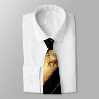 Assyrian lamassu Black n Gold Tie 1