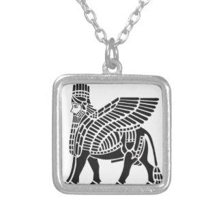 Assyrian Lamassu Silver Plated Necklace