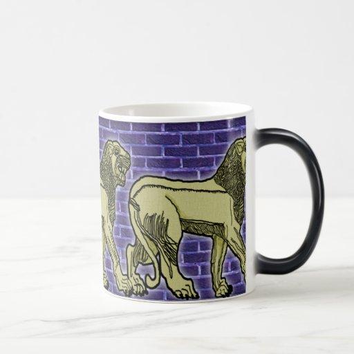 assyrian lion trio 11 oz magic heat Color-Changing coffee mug