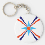 assyrian people ethnic flag basic round button keychain