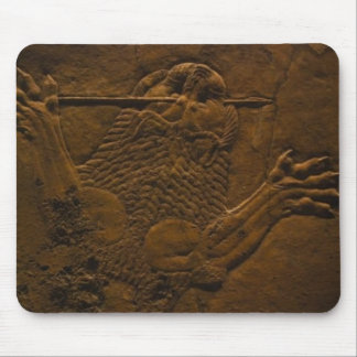 assyrian stone relief in northern mesopotamia mouse pad