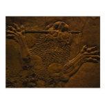 assyrian stone relief in northern mesopotamia postcard
