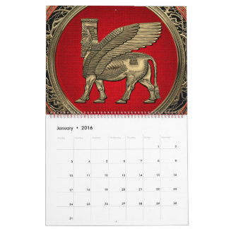 Assyrian Winged Bull - Gold Lamassu Calendar