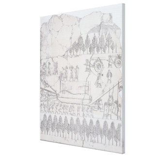 Assyrians moving a Winged Bull on a Sledge, from ' Canvas Print