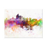 Astana skyline in watercolor background canvas print