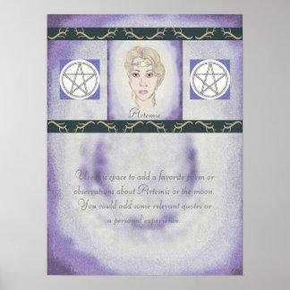 Astas de la diosa de la luna de Artemis/pentáculos Póster