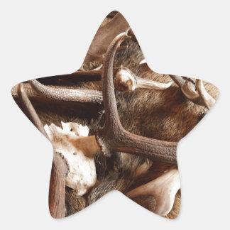 Astas de los alces de los alces de los ciervos que pegatina en forma de estrella