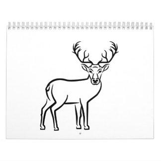 Astas de los ciervos calendario de pared