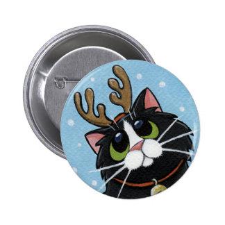 Astas del reno del gato que llevan - botón del art pin redondo de 2 pulgadas