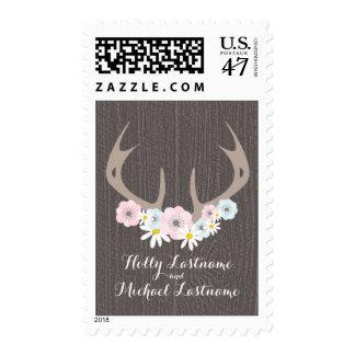 Astas florales + Franqueo del boda de Barnwood Sello Postal