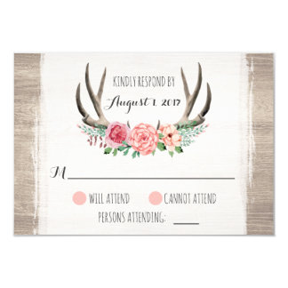 """Astas florales RSVP personalizado boda rústico Invitación 3.5"""" X 5"""""""