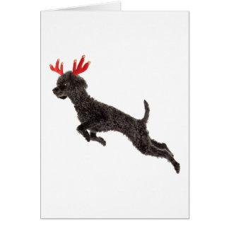 Astas negras del reno del perro de caniche de jugu felicitacion