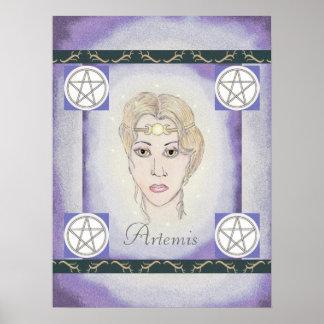Astas/pentáculos de la diosa de la luna de Artemis Póster