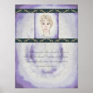 Astas/poema de la diosa de la luna de Artemis list Póster