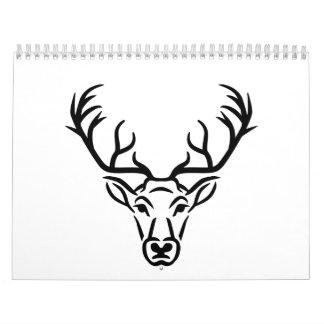 Astas principales de los ciervos calendario de pared