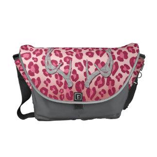 Astas rosadas del leopardo y de la plata bolsas de mensajería
