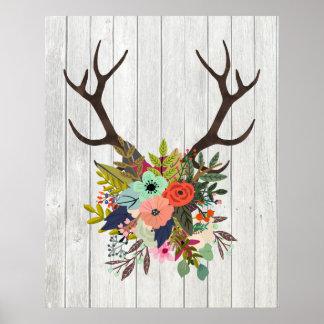 Astas rústicas de los ciervos con las flores póster