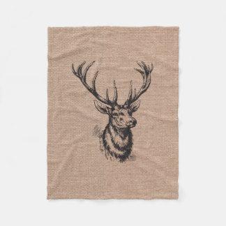 Astas rústicas de los ciervos del vintage manta de forro polar