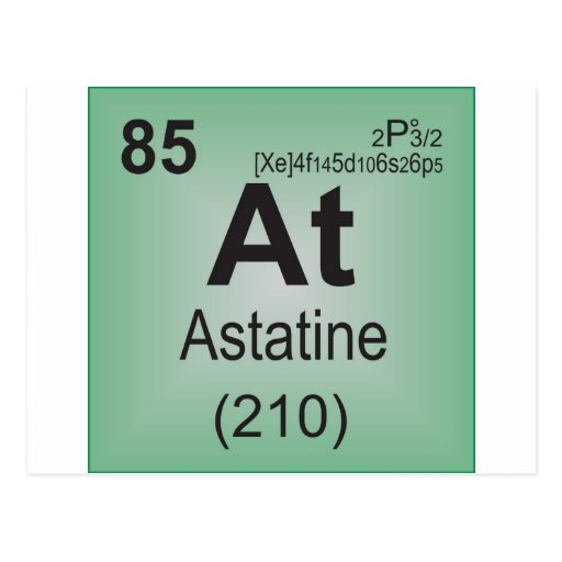 Astatine Individual Element of the Periodic Table Postcard ...